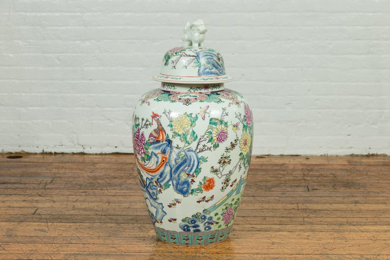 Vintage Chinese Hand Painted Porcelain Palace Jar, circa 1960 with Phoenix Motif For Sale 4