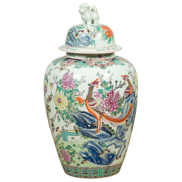 Vintage Chinese Hand Painted Porcelain Palace Jar, circa 1960 with Phoenix Motif For Sale