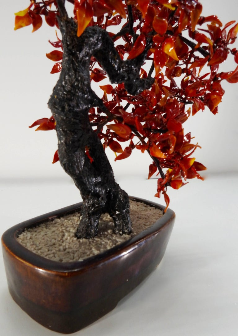 Chinoiserie Chinese Polished Glass Leaves on Bonsai Tree Vintage For Sale