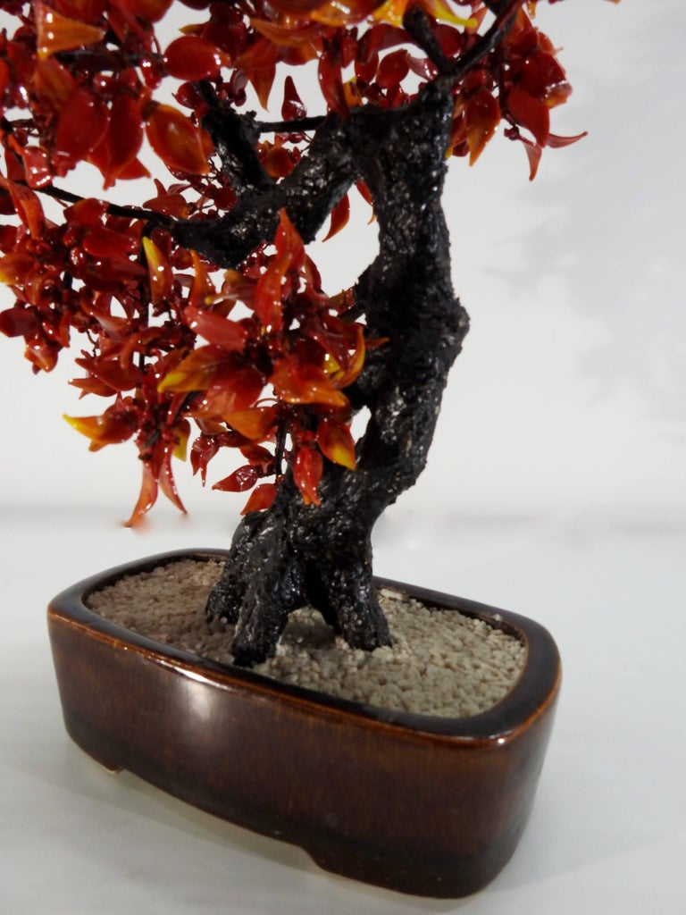 Dyed Chinese Polished Glass Leaves on Bonsai Tree Vintage For Sale