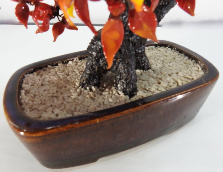 Chinese Polished Glass Leaves on Bonsai Tree Vintage For Sale 1