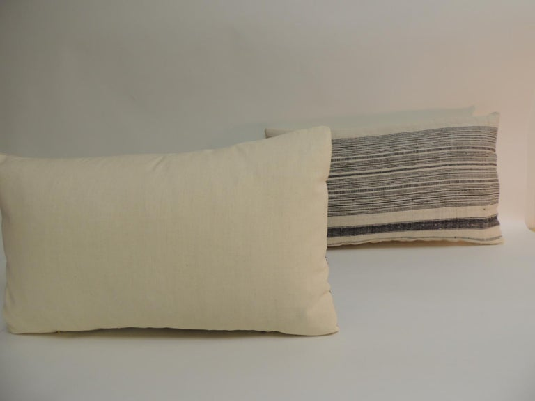 Tribal Vintage Chinese Homespun Blue and Natural Stripe Lumbar Pillow For Sale