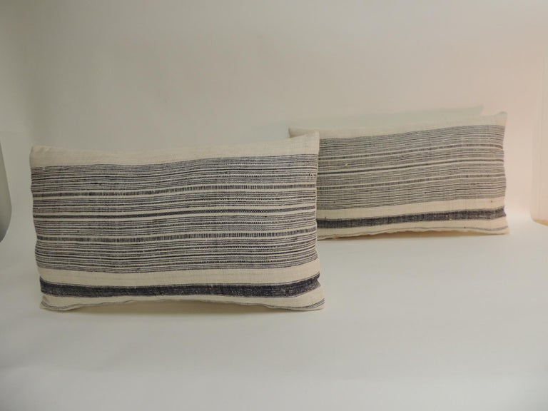 Hand-Crafted Vintage Chinese Homespun Blue and Natural Stripe Lumbar Pillow For Sale
