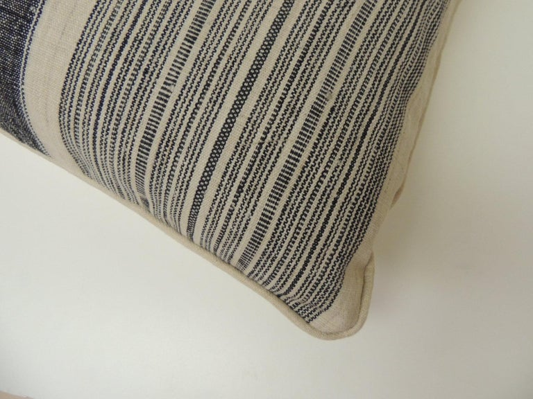 Tribal Vintage Chinese Homespun Blue and Natural Stripe Square Pillow For Sale