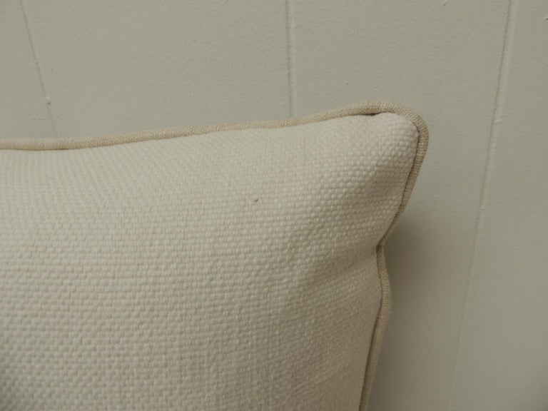 Hand-Crafted Vintage Chinese Homespun Blue and Natural Stripe Square Pillow For Sale