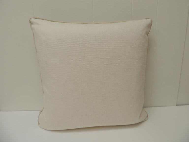 Vintage Chinese Homespun Blue and Natural Stripe Square Pillow In Good Condition For Sale In Fort Lauderdale, FL