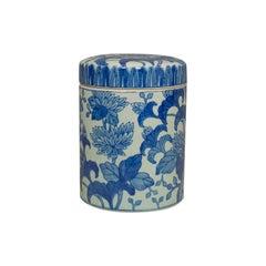 Vintage Chinese Jar, Oriental, Ceramic, Caddy, Urn, Painted, Floral, Pattern