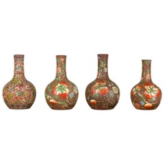 Vintage Chinese Kendi Shape Porcelain Vases with Raised Floral and Fruit Décor