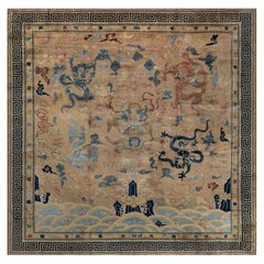 Vintage Chinese Light Blue, Navy and Beige Handwoven Wool Rug