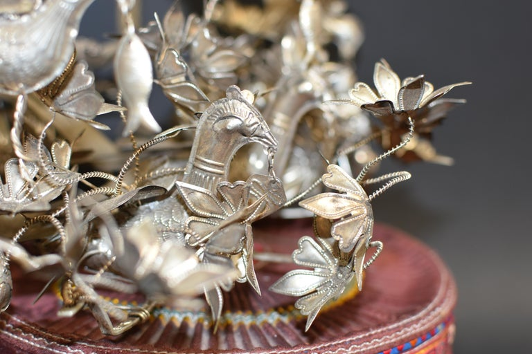 Vintage Chinese Miao Tribe Hat with 6 Silvered Birds and 40 Flowers For Sale 5