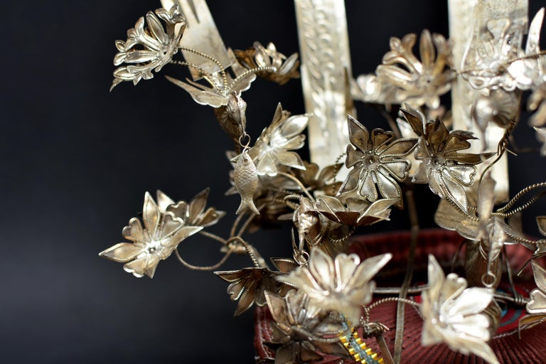 Vintage Chinese Miao Tribe Hat with 6 Silvered Birds and 40 Flowers In Good Condition For Sale In Somis, CA