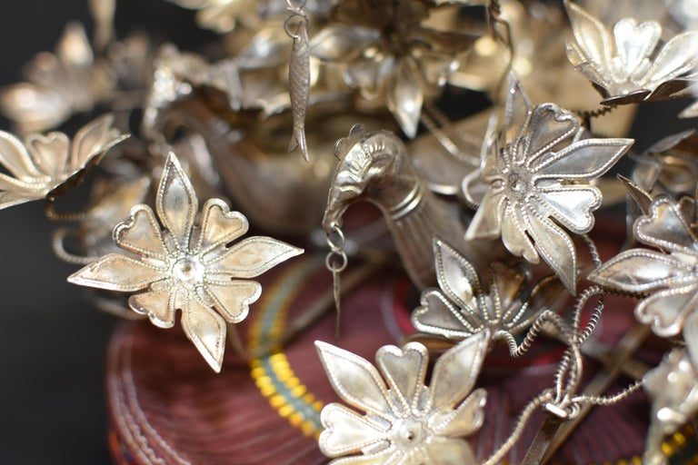 Vintage Chinese Miao Tribe Hat with 6 Silvered Birds and 40 Flowers For Sale 3