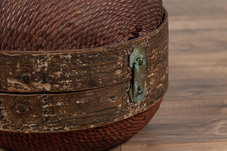 Metal Vintage Chinese Midcentury Rattan Circular Hat Box with Weathered Patina For Sale