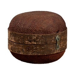 Vintage Chinese Midcentury Rattan Circular Hat Box with Weathered Patina