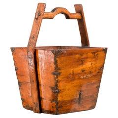Vintage Chinese Midcentury Wood Grain Basket with Large Handle and Metal Braces