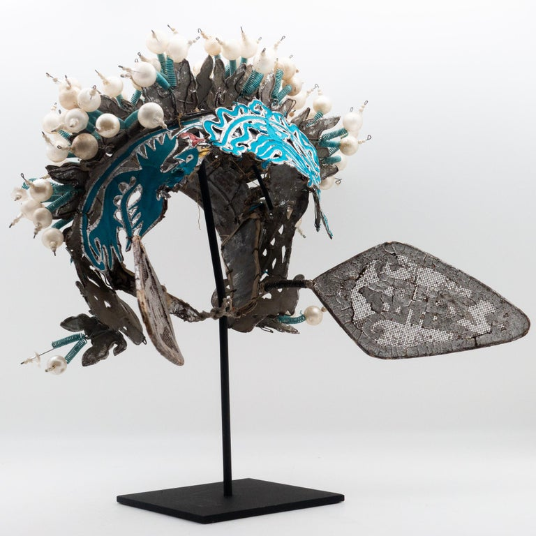 Vintage Chinese opera theatre headdress, early 20th century, mounted on a custom, black painted metal base.