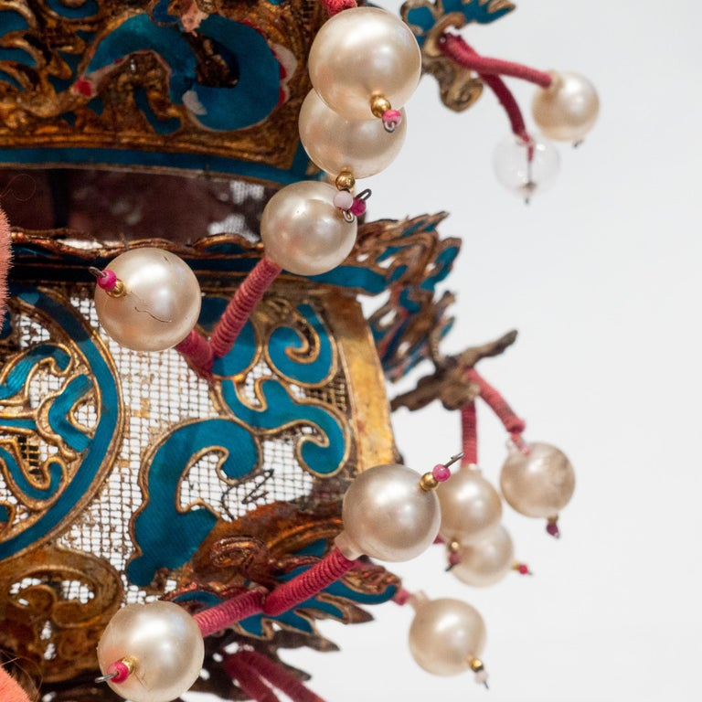 Metal Vintage Chinese Opera Theatre Headdress, Early 20th Century For Sale