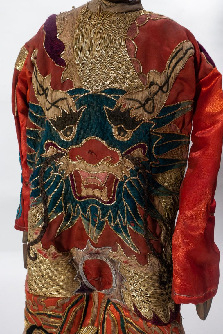 Embroidered Vintage Chinese Opera Theatre Marionette, Red Silk Robe, Orange Pom Poms For Sale