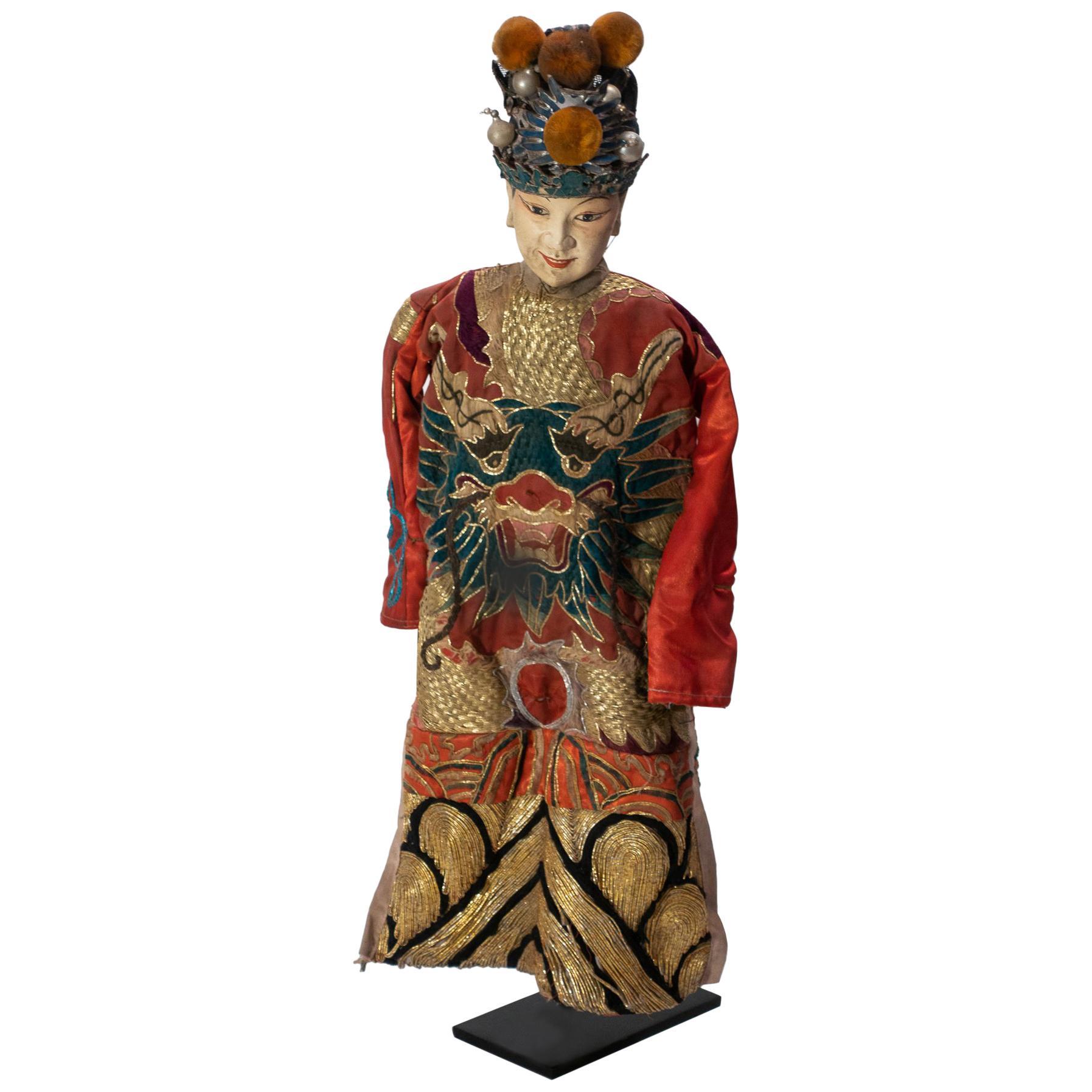 Vintage Chinese Opera Theatre Marionette, Red Silk Robe, Orange Pom Poms