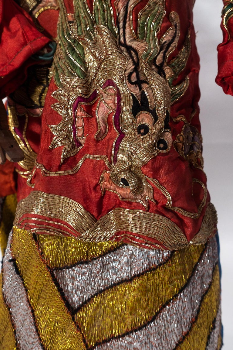 Vintage Chinese Opera Theatre Marionette, Red Silk Robe, Pink Pom Poms In Good Condition For Sale In New York, NY