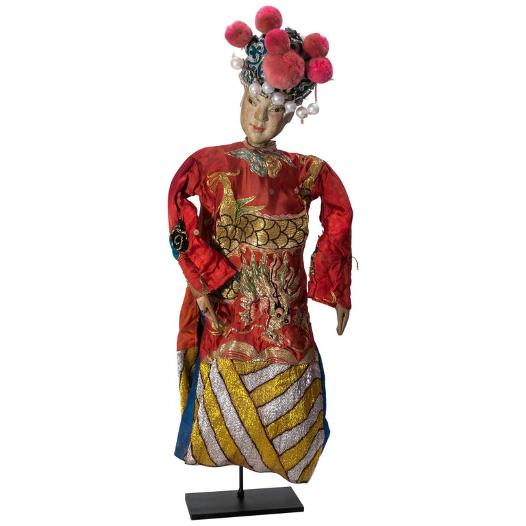 Vintage Chinese Opera Theatre Marionette, Red Silk Robe, Pink Pom Poms For Sale