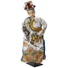 Vintage Chinese Opera Theatre Marionette, White Silk Robe, Red Pom Poms