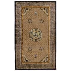 Vintage Chinese Oriental Design Silk Rug in Blue and Brown
