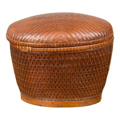 Vintage Chinese Oval Woven Rattan Basket with Lid and Geometric Motifs