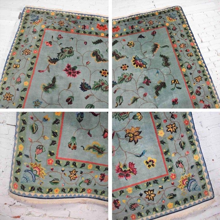 Vintage Chinese Peking Wool Handmade Rug Teal Green Overall Pattern For Sale 5
