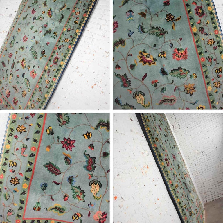 Vintage Chinese Peking Wool Handmade Rug Teal Green Overall Pattern For Sale 6