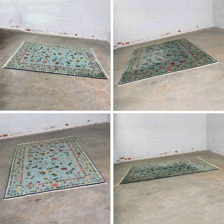 Vintage Chinese Peking Wool Handmade Rug Teal Green Overall Pattern For Sale 7