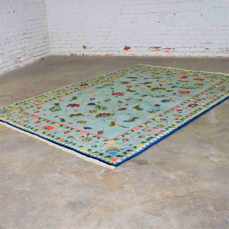 Vintage Chinese Peking Wool Handmade Rug Teal Green Overall Pattern For Sale 8