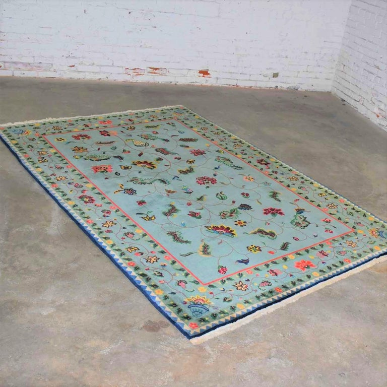 Vintage Chinese Peking Wool Handmade Rug Teal Green Overall Pattern For Sale 9