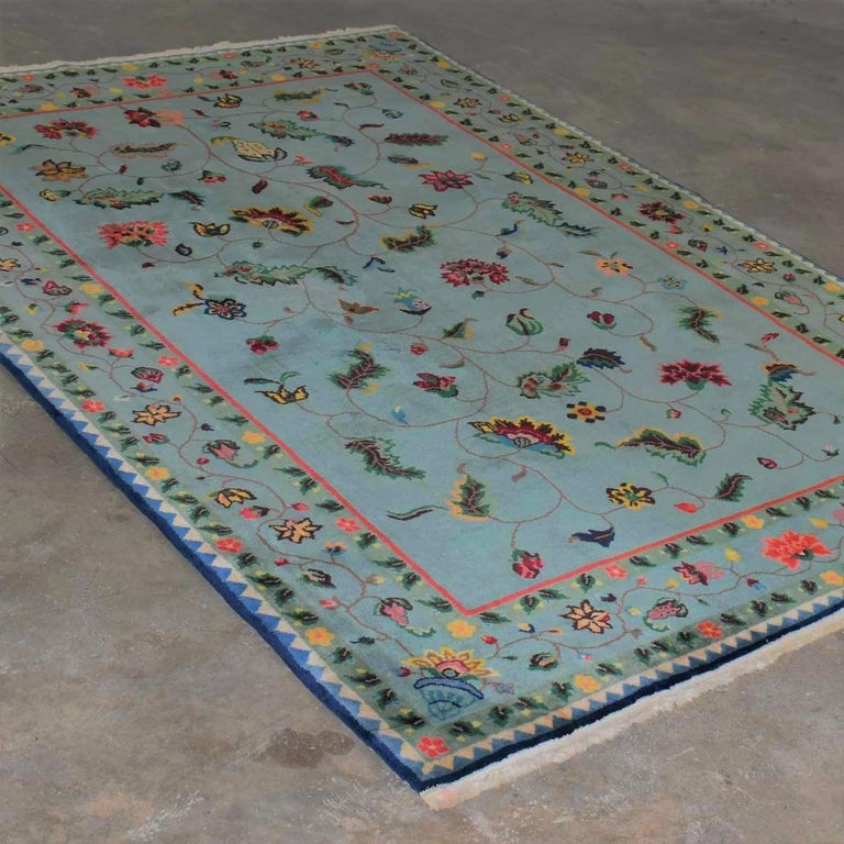 Vintage Chinese Peking Wool Handmade Rug Teal Green Overall Pattern For Sale 10