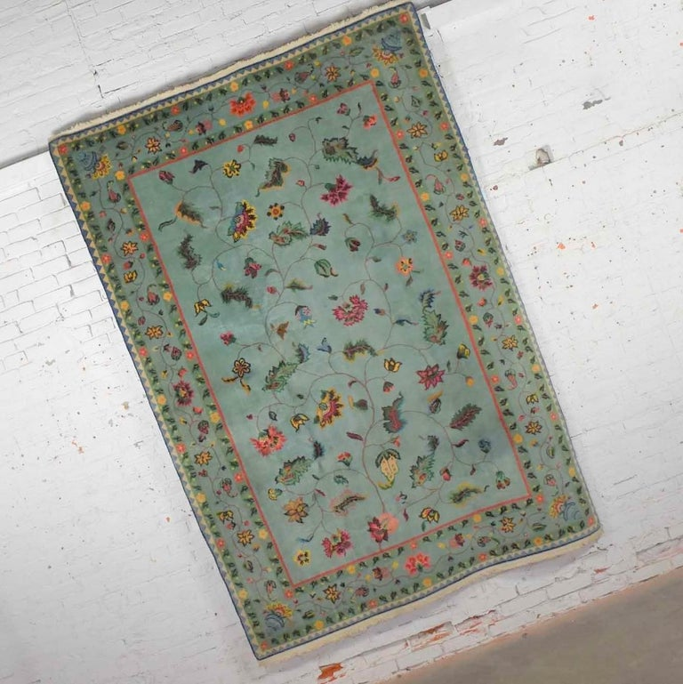 Chinoiserie Vintage Chinese Peking Wool Handmade Rug Teal Green Overall Pattern For Sale