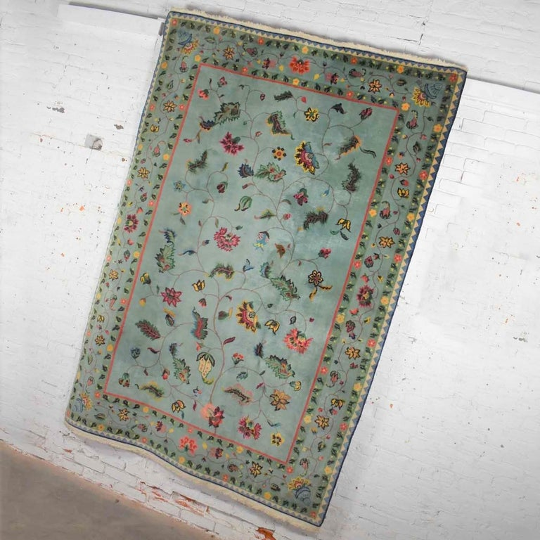 Vintage Chinese Peking Wool Handmade Rug Teal Green Overall Pattern In Good Condition For Sale In Topeka, KS