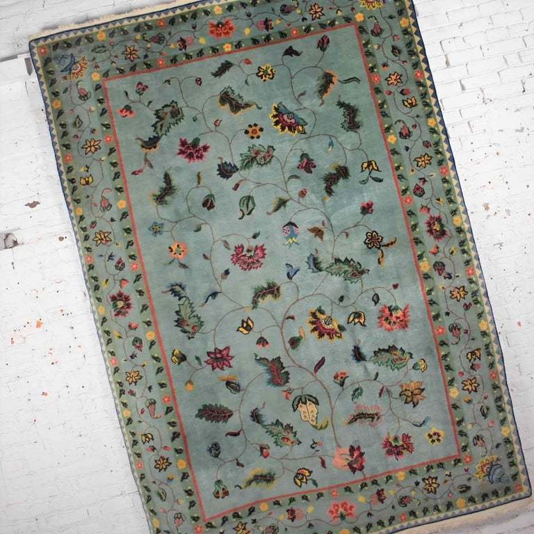 Vintage Chinese Peking Wool Handmade Rug Teal Green Overall Pattern For Sale 2