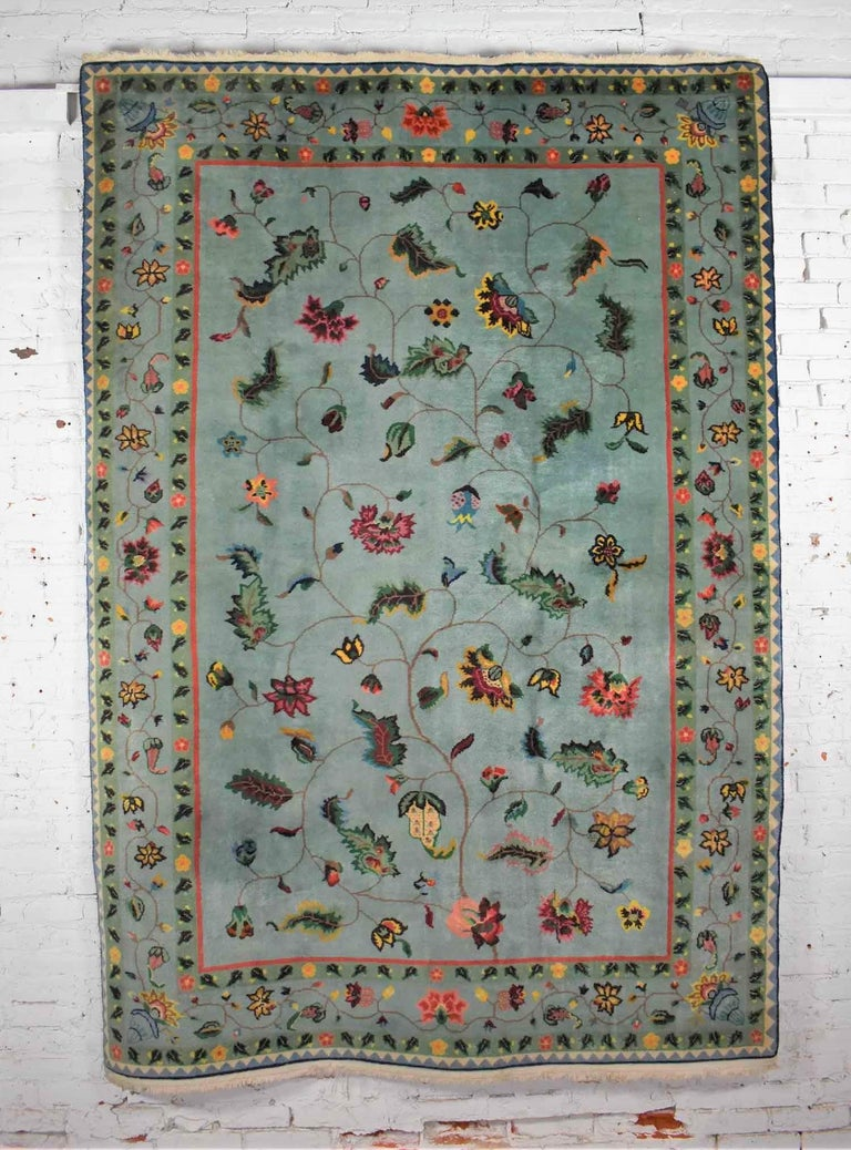 Vintage Chinese Peking Wool Handmade Rug Teal Green Overall Pattern For Sale 3