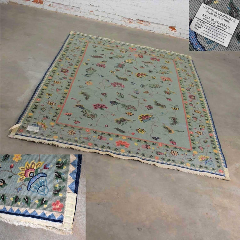 Vintage Chinese Peking Wool Handmade Rug Teal Green Overall Pattern For Sale 4