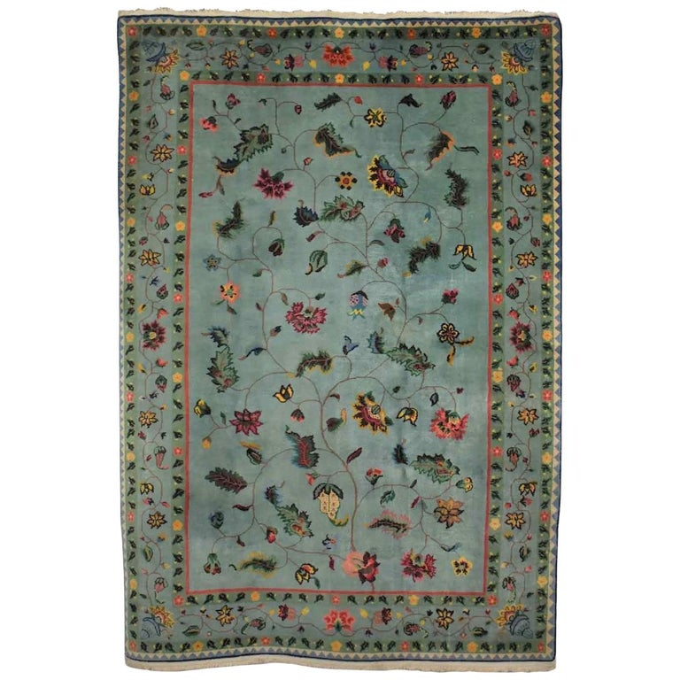 Vintage Chinese Peking Wool Handmade Rug Teal Green Overall Pattern For Sale