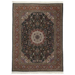 Vintage Chinese Persian Tabriz Design Rug with Victorian Baroque Style