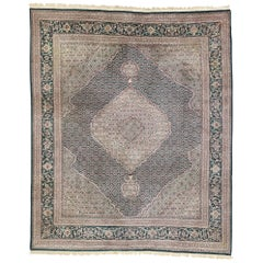 Vintage Chinese Persian Tabriz Rug with Mahi Fish Design and Old World Style
