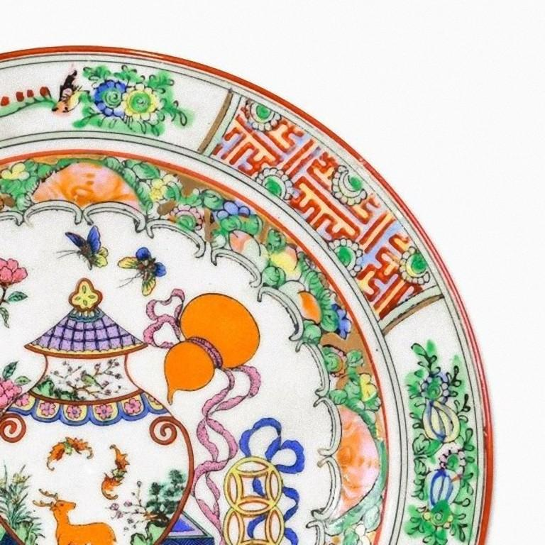 Vintage Chinese Porcelain Plate, Made in China, Early 20th Century In Good Condition For Sale In Roma, IT