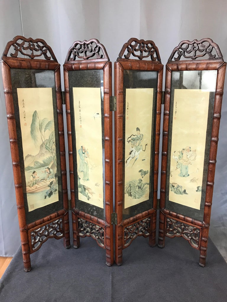 Vintage Chinese Qing Dynasty-Style Mahogany Four-Panel Screen with Paintings In Good Condition For Sale In San Francisco, CA