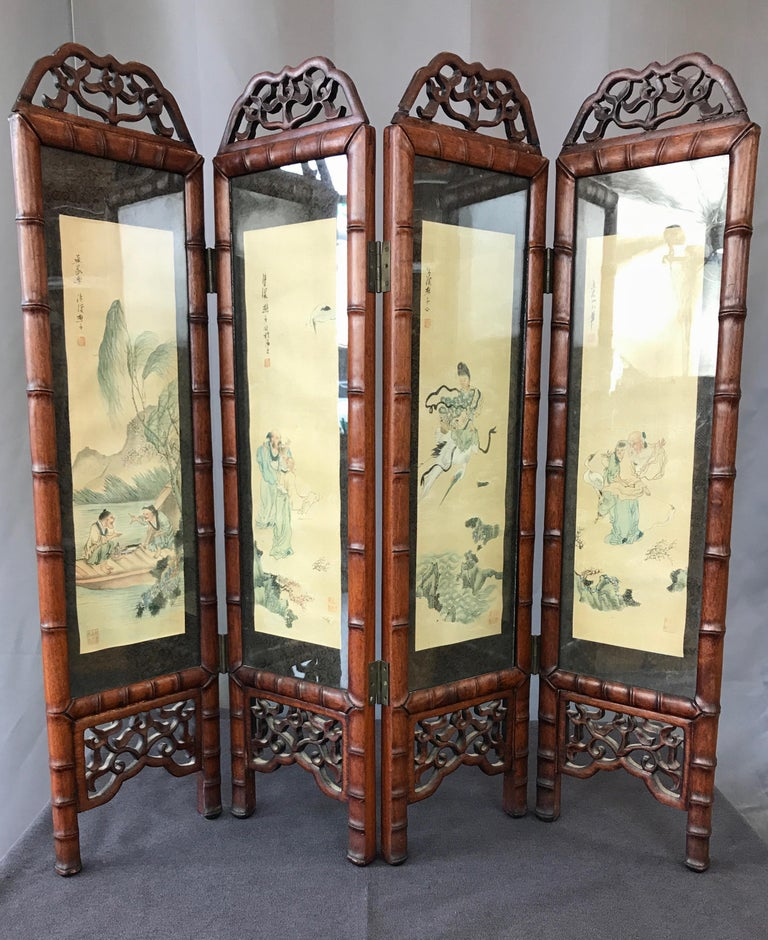 Mid-20th Century Vintage Chinese Qing Dynasty-Style Mahogany Four-Panel Screen with Paintings For Sale