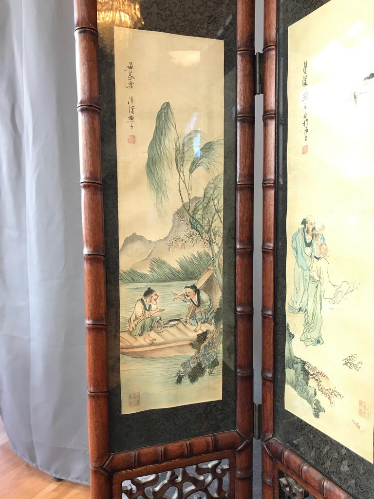 Vintage Chinese Qing Dynasty-Style Mahogany Four-Panel Screen with Paintings For Sale 1