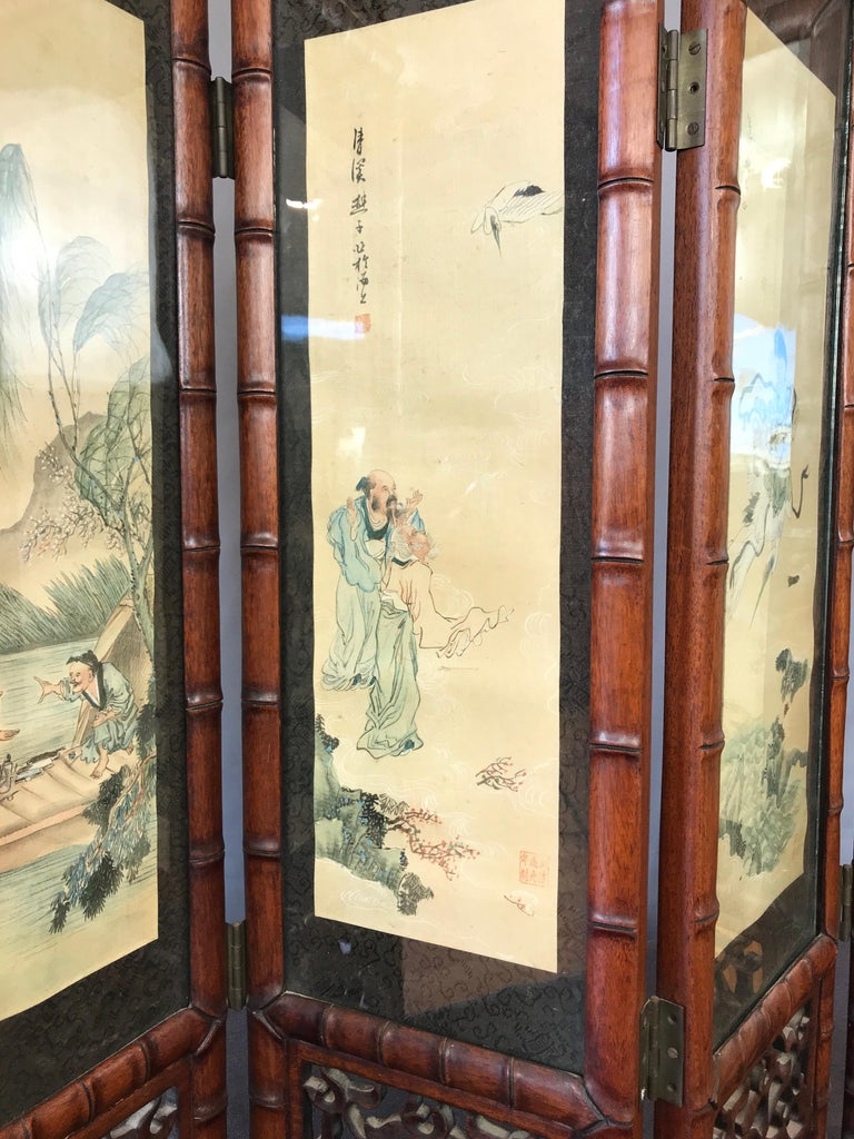 Vintage Chinese Qing Dynasty-Style Mahogany Four-Panel Screen with Paintings For Sale 2