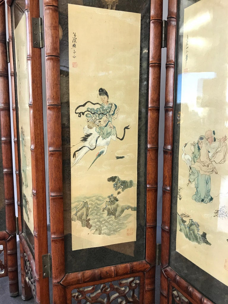 Vintage Chinese Qing Dynasty-Style Mahogany Four-Panel Screen with Paintings For Sale 3