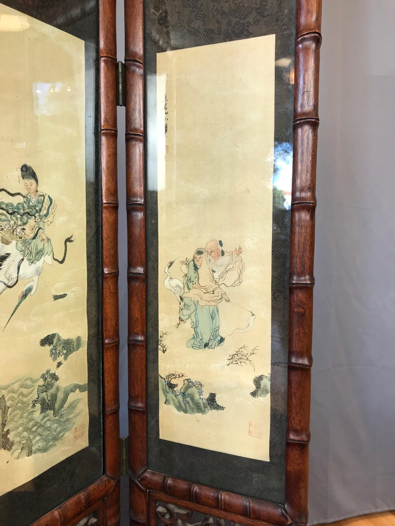 Vintage Chinese Qing Dynasty-Style Mahogany Four-Panel Screen with Paintings For Sale 4