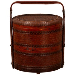 Vintage Chinese Rattan Two-Tiered Nested Lunch Basket with Lid and Handle